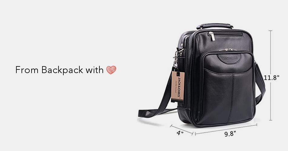 d4aa99945e Jack Chris Men s PU Leather CrossBody Handbag Largesize Shoulder Messenger  Sling Bag