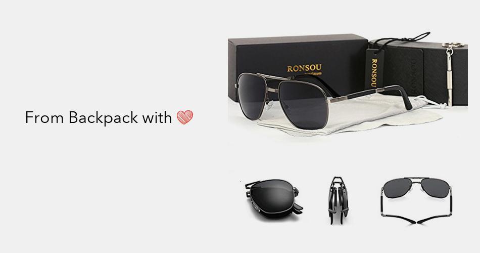 848d507ab4d Ronsou Men Collapsible Aviator Polarized Sunglasses UV400 Eyewear Glasses  For Driving Fishing Outdoor gray frame gray lens