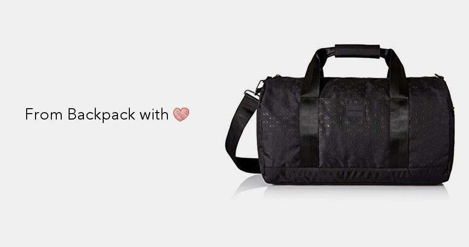3f656e7e8df9 Armani Exchange Men's Light Weight Dobby Nylon All Over Logo Duffle  Weekender Bag, Black, One Size