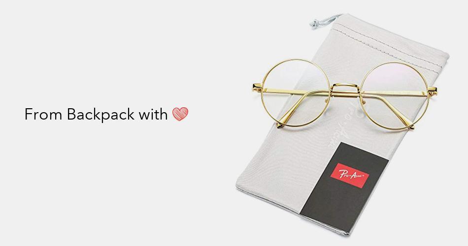 3012f04df Pro Acme Retro Round Metal Frame Clear Lens Glasses Non-Prescription |  Backpack